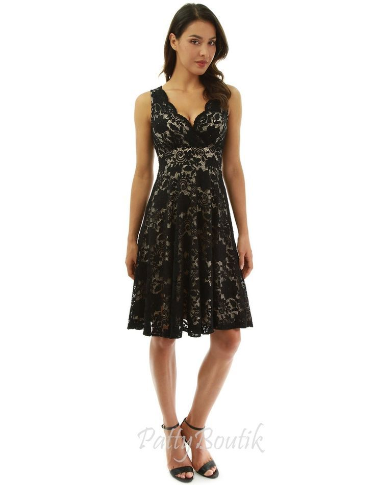 Floral Lace Overlay Fit and Flare Dress – #dress #…