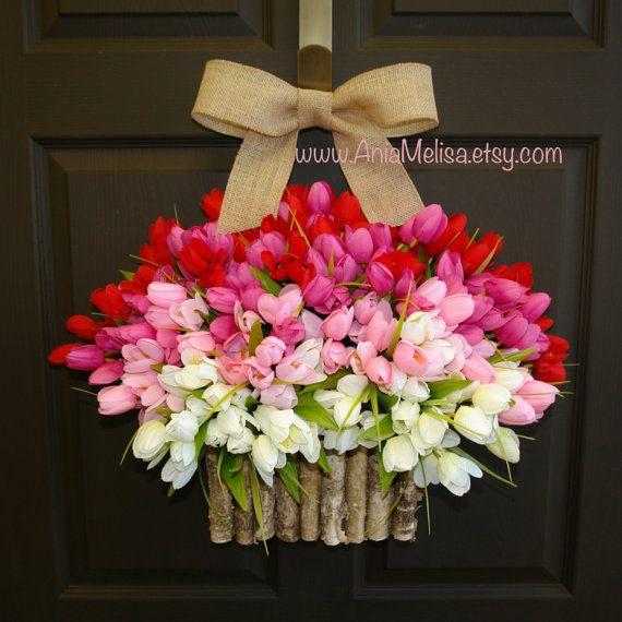 spring summer wreath birch bark vases front door wreath decorations red pink tulips spring wreath