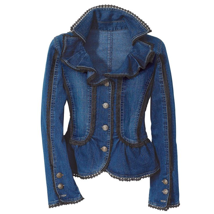 Ruffled Denim Jacket  Trimmed in black lace and princess- seamed in back with a nipped peplum, it is paneled in two shades of blue, with ruffled lapels and bold brass buttons closing the trim, fitted sleeves