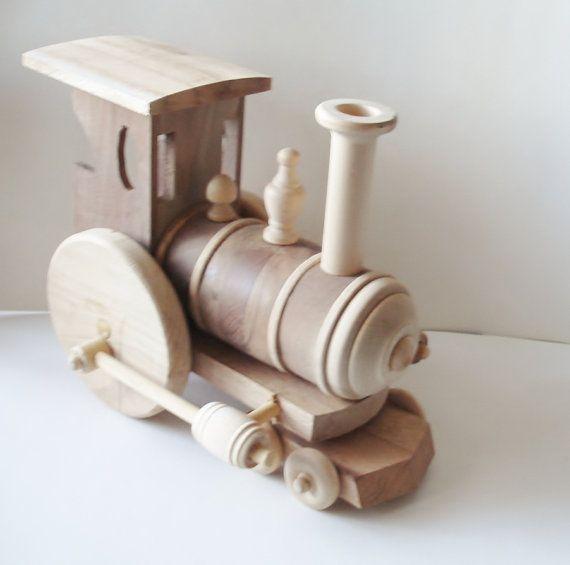 Children's  Toy  Train Engine  Natural Wood   by SandJPaperandWood, $90.00