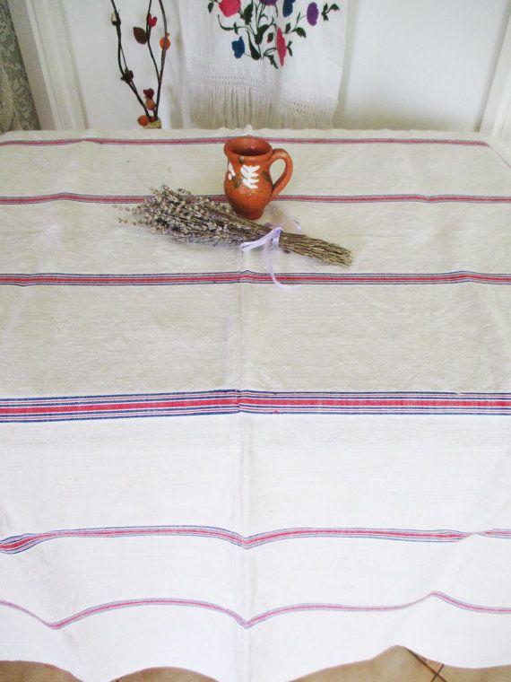 85. Vintage homespun pure flax linen hemp tablecloth organic