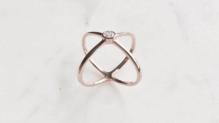 Rose gold XOXO ring bohchicstore.com