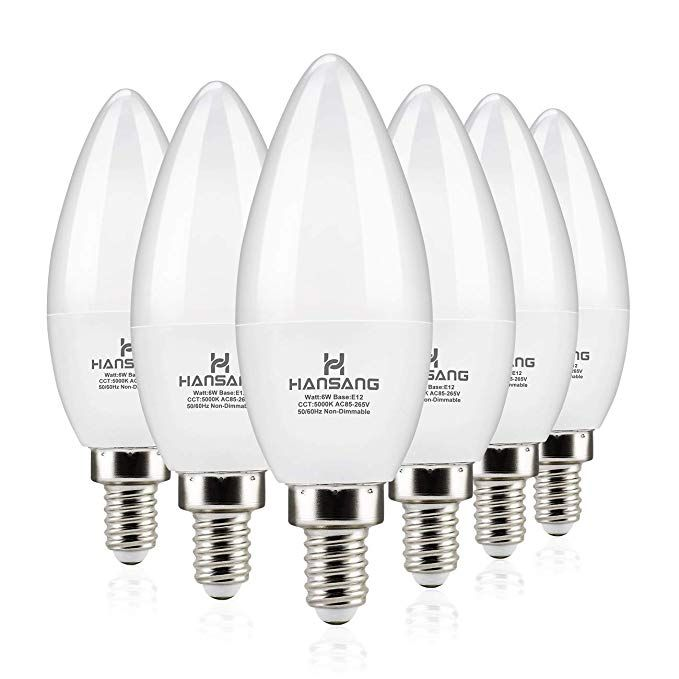 Hansang Led Candelabra Bulbs 6 Watt 60 Watt Equivalent Daylight 5000k 600lm Ra 83 Candle Bulb Base E12 For Chandel Candelabra Bulbs Led Candelabra Bulbs Bulb