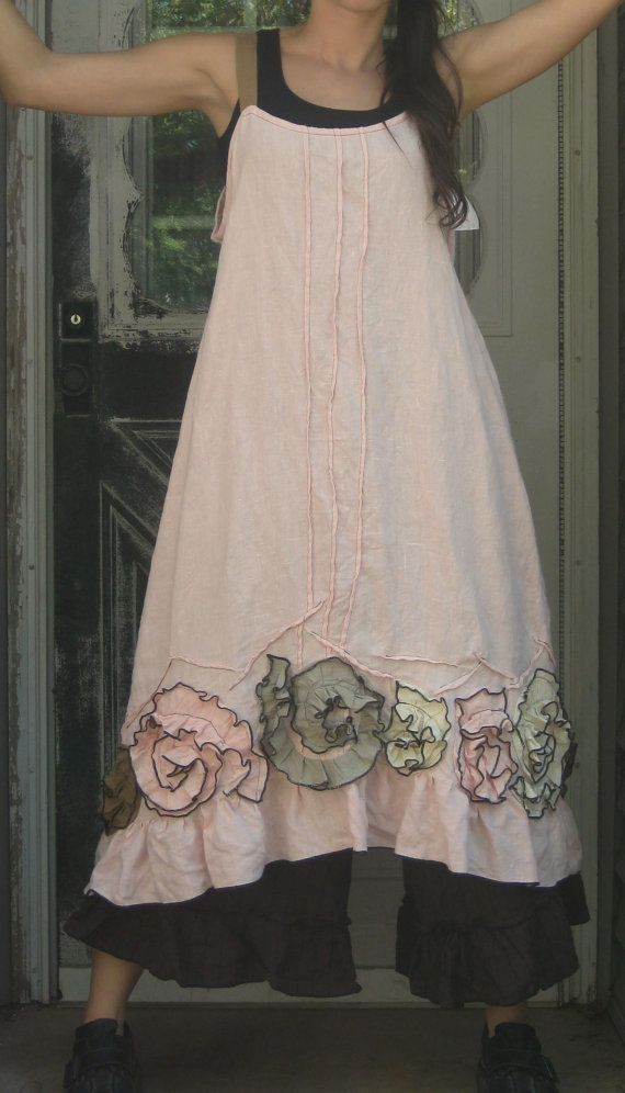 Pink Linen Flouncey Swirl Dress 2X Plus by sarahclemensclothing