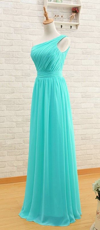 Elegant One Shoulder Pleated A-Line Long Chiffon Turquoise Bridesmaid Dress - Uniqistic.com