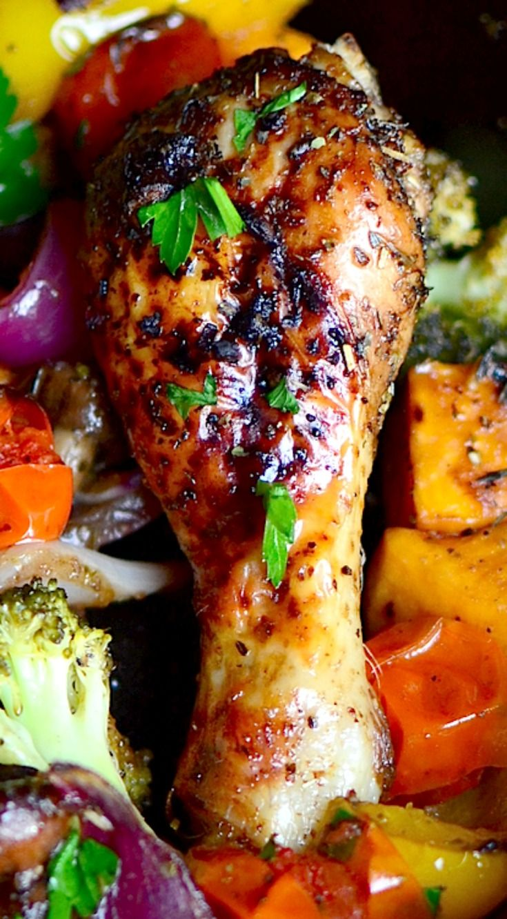 One Pan Balsamic Roasted Chicken and Vegetables ~ This is for those days when you're too lazy to make dinner and it;s delicious