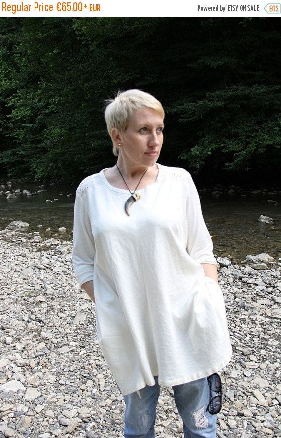 White Linen Tunic Blouse 46