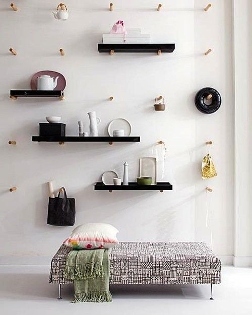 Pegboard via Dutch site Vtwonen | Remodelista | http://www.remodelista.com/posts/11-favorites-wall-hung-pegboards-storage-organizers
