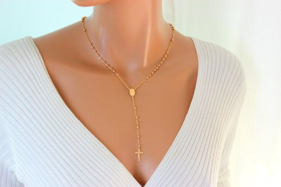 Rosary Necklace 18kt Gold Filled High by divinitycollection