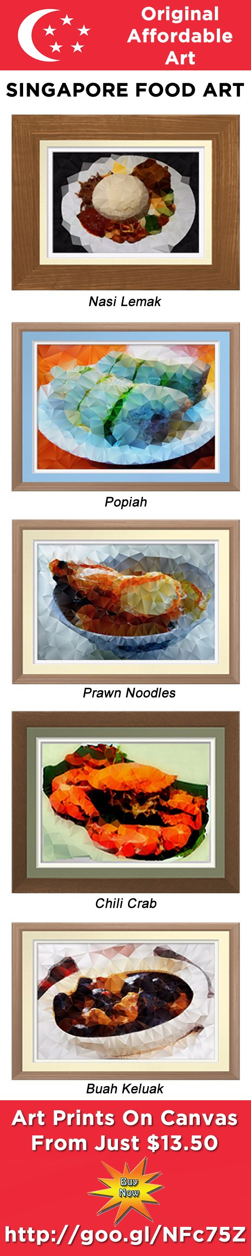 Original & Affordable Singapore Food Art.  Printed on premium canvas. Give or collect something different from your life in, or visit to, Singapore. http://goo.gl/NFc75Z #Singapore #food #Singaporefood #art #artprints