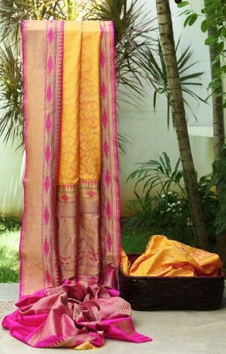 #Banarasi Silk Yellow & Purple Parisera
