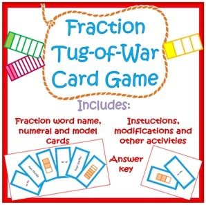 Fraction War - Equivalent Fractions-Matching Game - This is a fraction card game that really helps students to use equivalent fractions and compare fractions to get the larger value. The players draw their cards, read the fractions aloud and face off for 'Fraction War'. If two players draw equivalent fractions they draw again to find a fraction of greater value in order to win.