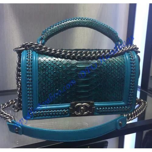 8fe6567b5243 Boy Chanel Flapbag with handle in Blue Python Leather and Ruthenium Metal  Hardware – LuxTime DFO
