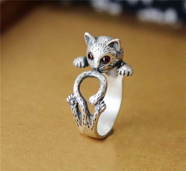 Hippie Vintage Anel Punk Kitty Wedding Ring Boho Chic Brass Knuckle Animal Cat Rings For Women Men Fashion Jewelry Best Gift
