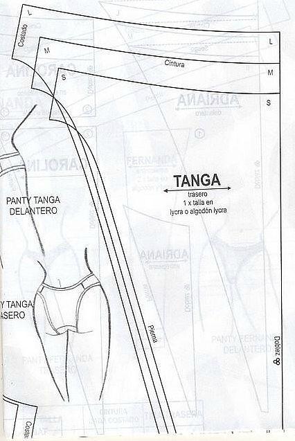 """Текстильные фантазии и не только: Трусики """"Танга"""" (выкройка на размеры S,M,L)"""