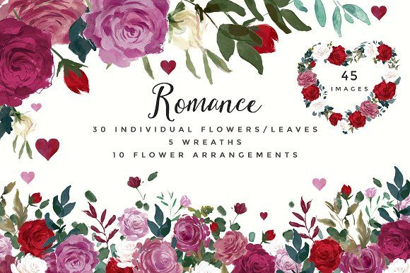 Free for a limited time!  Romance- Watercolor Clipart Set by Twigs and Twine on @creativemarket  roses, flowers, floral, graphic, design, png, ad, affiliate