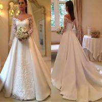 Langarm Applikationen Satin A Line Brautkleid Weiß / Elfenbein V-Ausschnitt Brautkleid   – Vestidos de noiva