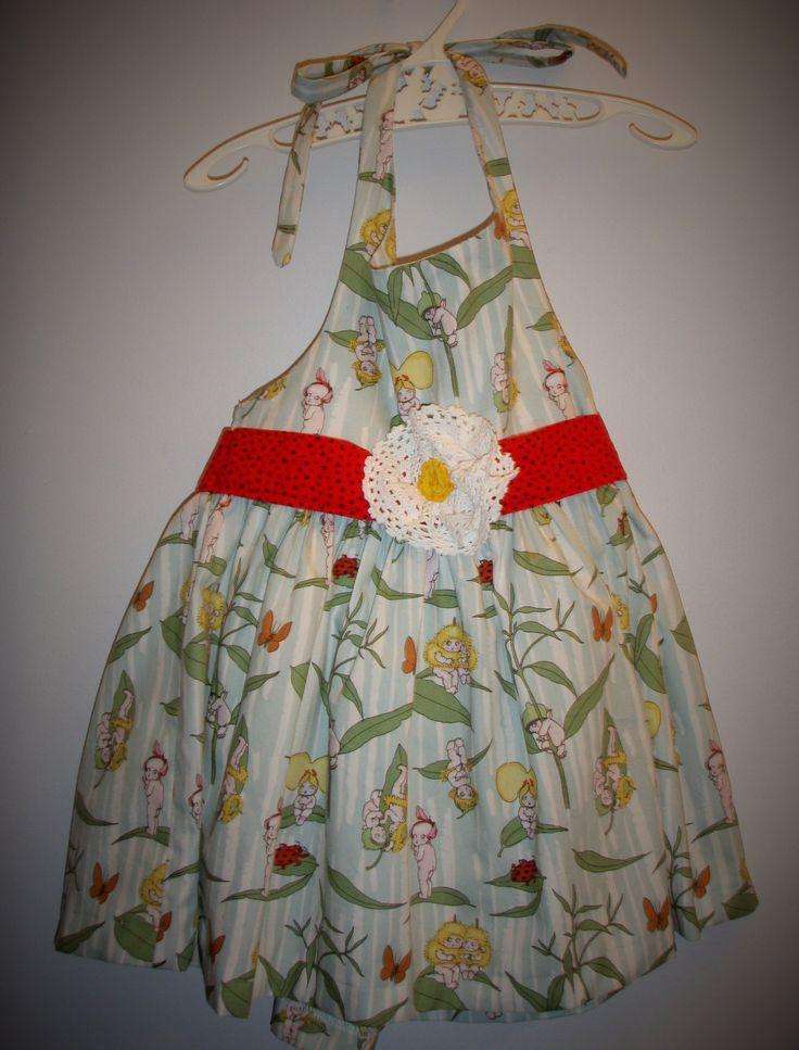Girls summer dress, size 12-24months, gumnut babies, May Gibbs, halter neck, lace, flower, baby present, unique, handmade, australian by LittleLarkClothing on Etsy