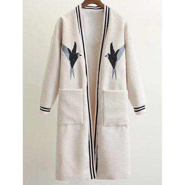 $53.18 Collarless Bird Embroidered Wool Blend Coat