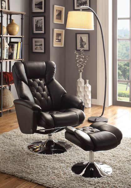 2 Pc Aleron Collection Black Bonded Leather Match Upholstered Swivel Chair  And Ottoman