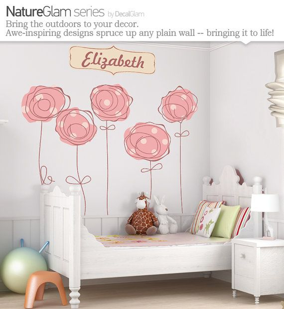 Childrens Wall Decal  Polka Dot Trees and Name by DecalGlam, $125.00