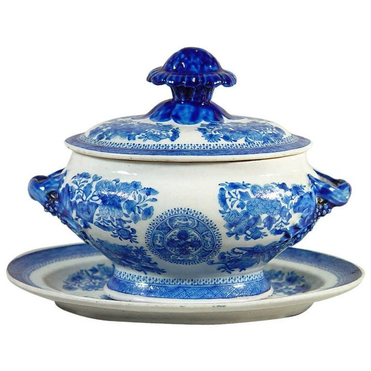 Chinese Export Blue Enamel Fitzhugh Sauce Tureen, Cover and Stand | From a unique collection of antique and modern soup tureens at https://www.1stdibs.com/furniture/dining-entertaining/tureens/