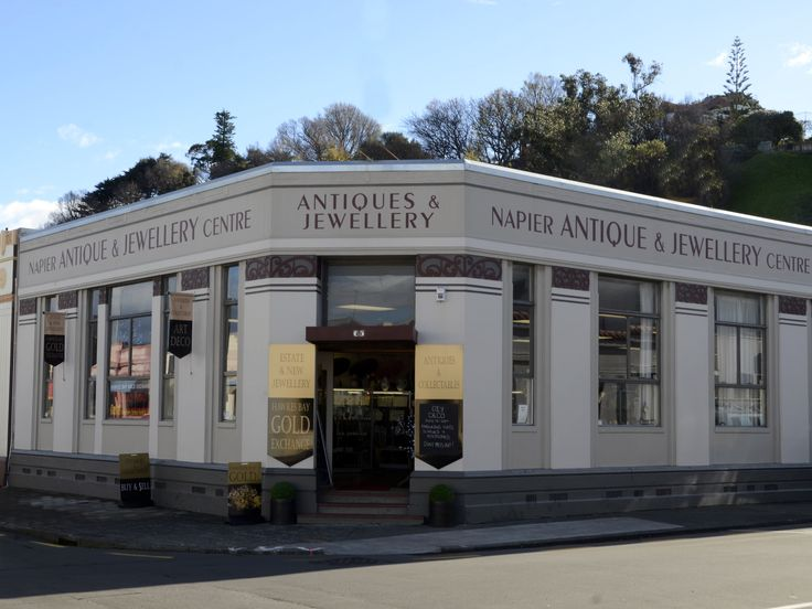 Our Building in Napier, New Zealand. We have over 600 Sq meters of showroom, brimming with antiques, collectable, jewellery & great period fashion.
