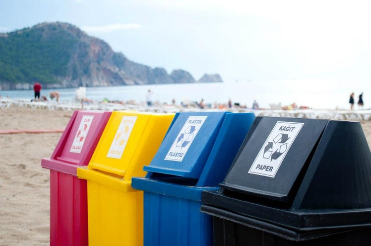 Bins on the beach in Alanya