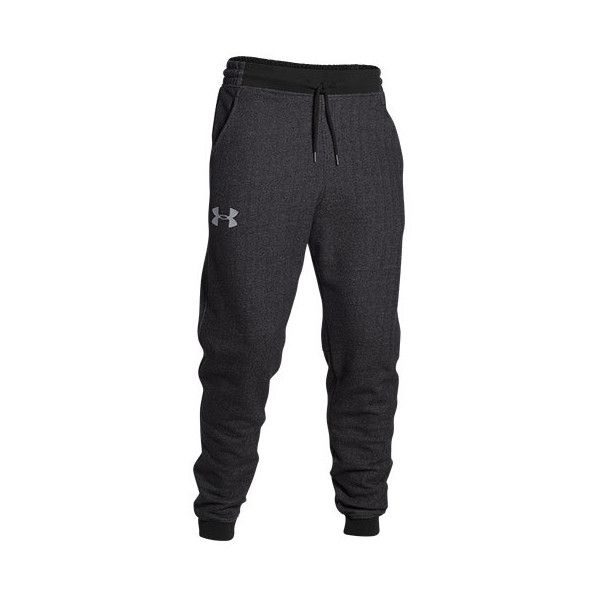 Men's Under Armour Rival Fleece Cuff  Sweatpants ($60) ❤ liked on Polyvore featuring mens, men's clothing, men's activewear, men's activewear pants and asphalt heather