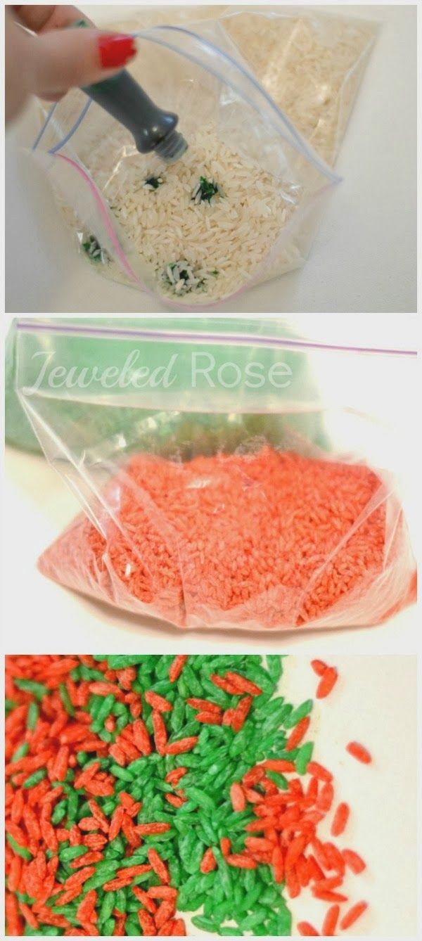 How to make Christmas scented sensory rice for fabulous holiday play- smells just like Christmas! (from Growing a Jeweled Rose)