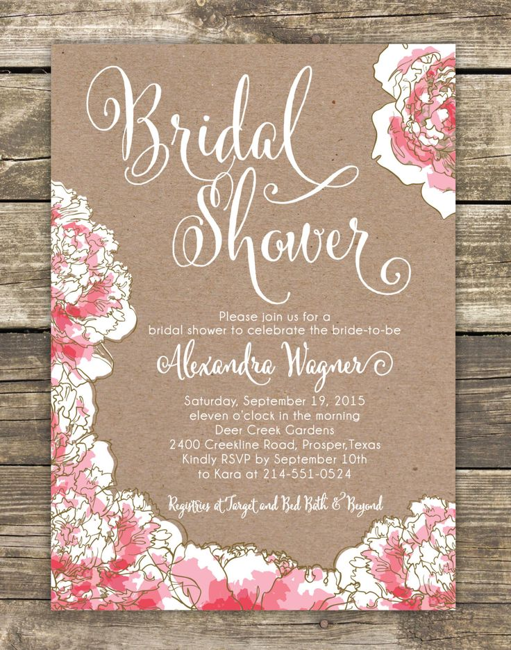 invitation letter for us vissample wedding%0A Printed Bridal Shower Invitation  Romantic Pink Peony Floral  Bridal  Luncheon  Bridal Tea Invitation