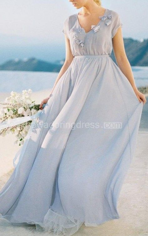 Gentle Grey Wedding With Floral Decoration Romantic Wedding Gown Chiffon Wedding Of Grey Color Dress