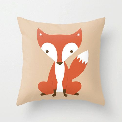 Cute red fox woodland cushion / pillow cover for kids / child 40 x 40cm via Etsy