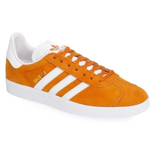 Men's Adidas 'Gazelle' Sneaker ($80) ❤ liked on Polyvore featuring men's fashion, men's shoes, men's sneakers, unity orange, adidas mens sneakers, mens orange sneakers, mens orange shoes, mens suede sneakers and adidas mens shoes