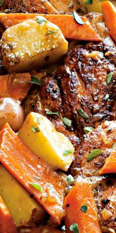 Braised Chicken Thighs with Carrots, Potatoes and Thyme http://samscutlerydepot.com/product/sakai-takumi-ajimasa-yasuki-shirogamiwhite-steeljapanese-chefs-deba-knife-dw-serieshongasumi-finish/