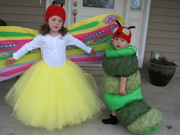 2011 Halloween costumes for my grandkids.  The very hungry caterpillar and the butterfly frim childrens book!