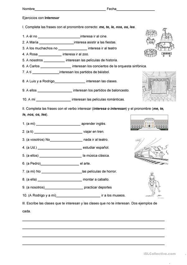 Ejercicios Con El Verbo Interesar Ejercicios Para Aprender Español Ejercicios De Español Actividades Para Clase De Español