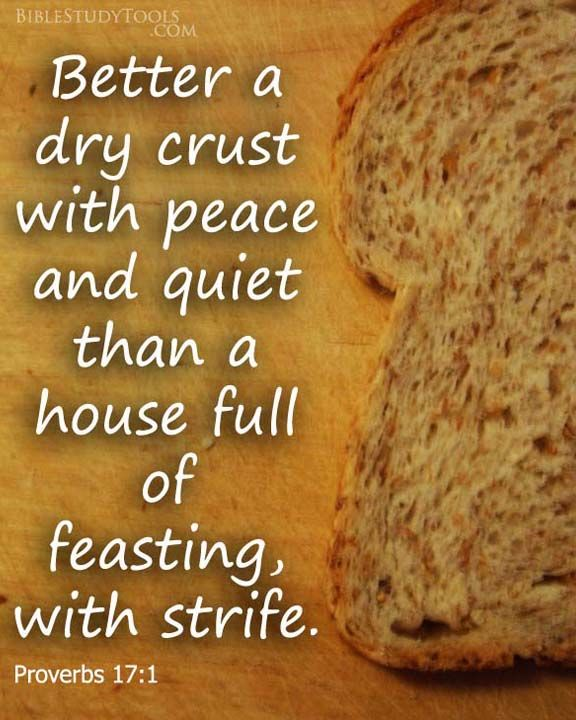"""Better a dry crust with peace..."" ~ Proverbs 17:1   http://www.biblestudytools.com/proverbs/17-1.html #peace #strife #bible"