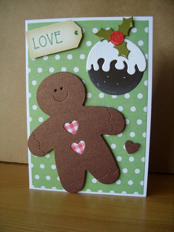 Gingerbread Man & Christmas Pud Card by AuntyJoanCrafts on Etsy, £2.50