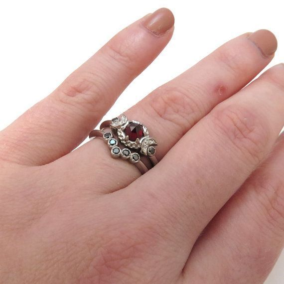 Victorian Gothic Engagement Ring Set Garnet by SwankMetalsmithing