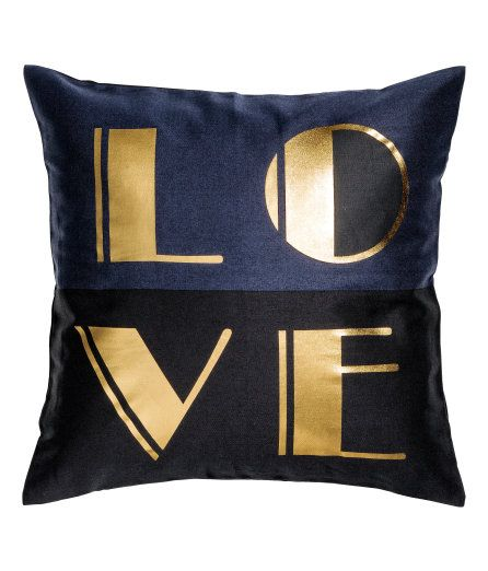 Check this out! Color-block cushion cover in cotton twill with a metallic printed motif. Concealed zip. - Visit hm.com to see more.