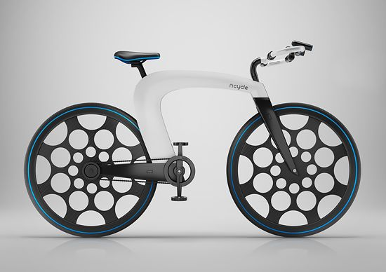 """Created by Hussain Almossawi & Marin Myftiu, the nCycle is a revolutionary e-bike that locks itself and features an elegant system to carry your objects while riding.  """"The design scraps the classic tubular structure for a sleeker, lightweight, hollow-bodied shell that protects the inner electric drive system. Other features include a built-in pocket for small cargo, a bar-mounted locking system, integrated headlights & speakers, & even a holographic display.""""  More industrial design via…"""