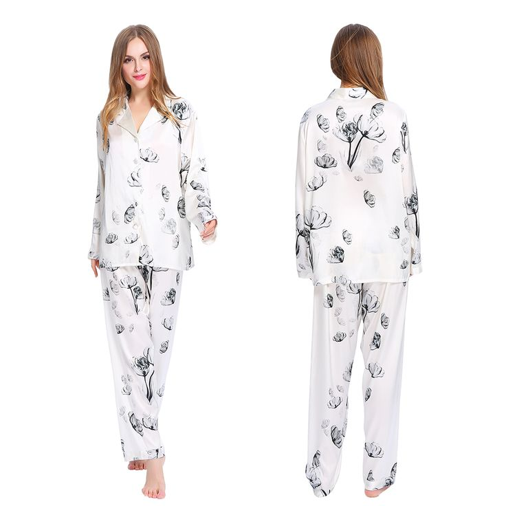 Women  Silk #Pajamas Set with Lotus patterns #lilysilk