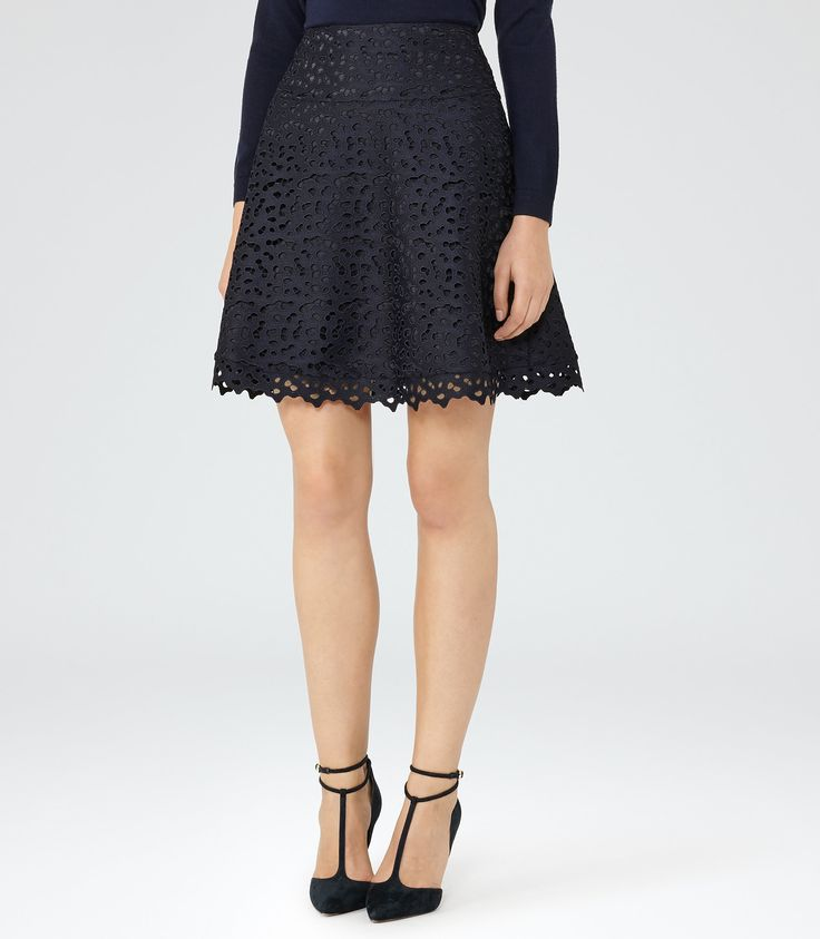 Mallory Night Navy Lace A-Line Skirt - REISS