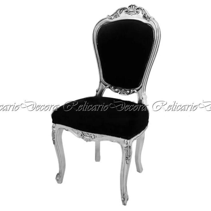 cadeira luiz xv design prata c/ tecido nobre preto elegante