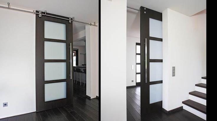 Floor To Ceiling Sliding Door With Twin System Barn Door Hardware      Modern   Interior Doors   Miami   Bartels Exclusive Designer Doors