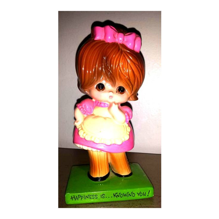 Vintage American Greetings Figurine,Hapiness is Knowing You,Kitschy,Big Eyes,Mod Girl Figurine,Collectible Figurines,American Greetings, MCM by JunkYardBlonde on Etsy