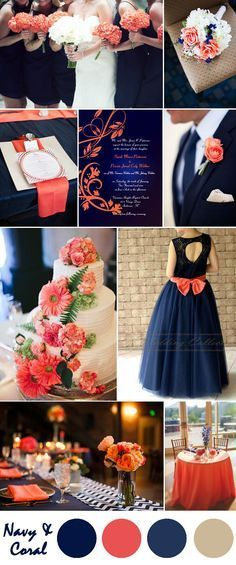 dark blue and coral country wedding color ideas