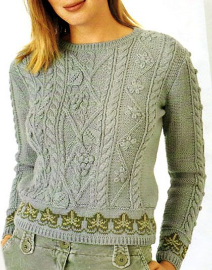 Aran sweater with leaves and cables, design ideas, really, really yummy