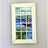 French Door Insert - Seaside with Sailboat